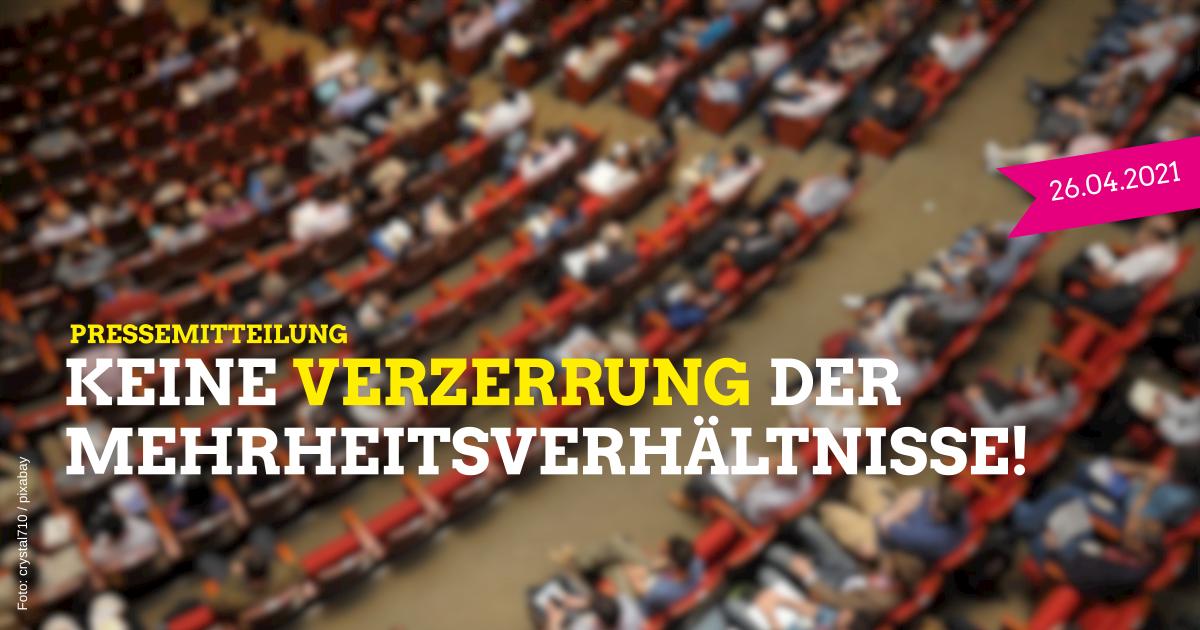 SPD, Grüne, FDP und Vereinigte Wählergemeinschaften wollen keine Verzerrung der Mehrheitsverhältnisse in der Kreistagssitzung am 29. April